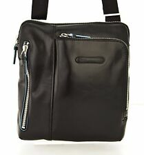 Man Shoulder Bag PIQUADRO BLUE SQUARE black leather crossbody CA1816B2 BLACK