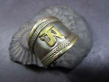 R293 TIBETAN OM Mantra Buddhist Chant adjustable Copper Brass Peace Ring NEPAL
