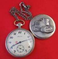 MEGA RARE Vintage Pocket watch Molnija Molnia TRACTOR Soviet USSR Working