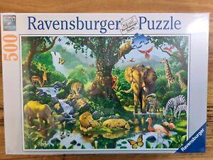 Jigsaw Puzzle Jungle Harmony 500pc Elephant Bird Giraffe Tiger ravensburger Tree