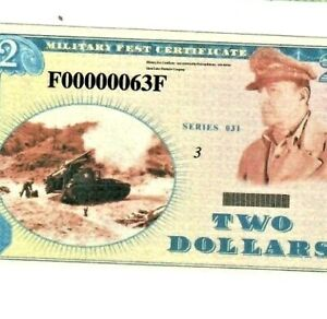 "$2 ""00000063"" (LOW SERIAL) ""MILITARY FEST PAYMENT CERTIFICATE"" $2 NOTE CRISPY!!!"