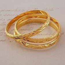 3pcs Classic 24k Yellow Gold GF 60mm*6mm Womens Bracelet Jewelry