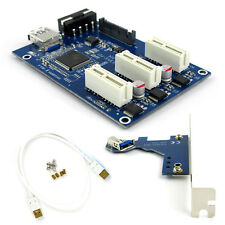 PCI-E 1X Expansion Kit 1 to 3 Port Switch Multiplier HUB Riser Card + USB Cable