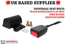 Universal Retractable Lap belt 2 point & 30cm Wire Rope Buckle End E4 UK VAT INC