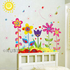 Colourful Flowers and Butterfly Home Decoration Vinyl Wall Sticker Art Decal UK