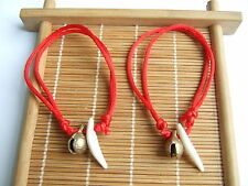 Red String Kabbalah Wolf Tooth Bell Lucky Bracelet Against Eye for Success