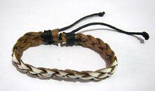 Lovely latticed white painted leather friendship style bracelet adjustable