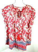 New Women's Red Boho Wild Bloom Print Chic Flutter Top Blouse Shirt XL NWT