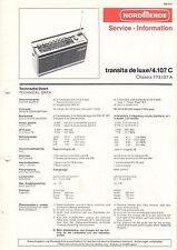 NORDMENDE - transita de luxe/4.107 C - 773.107 A - Service Information - B3127