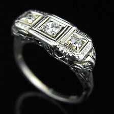 Art Deco Transition & Old European Cut Diamonds 14k White Gold Ring Antique