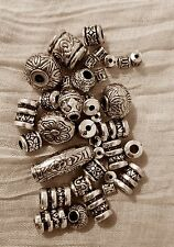 Antiqued Silver Tone  plasticCharm  Beads Set of 36 Ships from USA Pc36