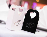 10 Pack White Wedding Party Favour Gift Box Boxes Silver Double Hearts Jewellery