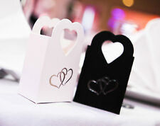 10 Pack White Wedding Party Favour Gift Box Boxes With Silver Hearts £2.29