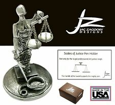 Jac Zagoory Model #PH70 Scales Of Justice Pewter Pen Holder / USA