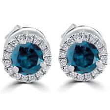 SI 1Ct Treated Blue Diamond Halo Studs 18K White Gold Earrings
