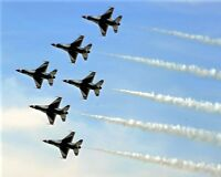 New 8x10 Photo: F-16 Falcon Fighter Jets of the USAF Thunderbirds in Formation