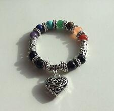 Cristales de piedras preciosas de chakra 7 Color Corazón de plata pulsera con dijes Curación Reiki