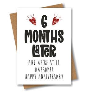 6th Month Anniversary Card - 6 Months Later Still Awesome - Boyfriend Girlfriend