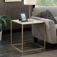 End Table Sofa Side Accent Lamp Stand Bed Faux Marble Modern Contemporary Gold