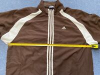 """Adidas Sports Shell Jacket Brown White Full Zip L Large 25"""" Mens Track Coat XL"""