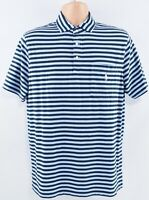 POLO RALPH LAUREN Men's Blue Striped Polo Shirt, Classic Fit, size SMALL