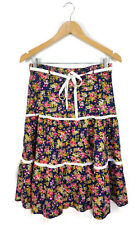 VINTAGE SKIRT - Floral Prairie Tiered Broderie Anglaise Navy White Pink Green 10