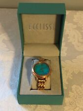 ECCLISSI WOMEN'S WATCH, STERLING SILVER, TURQUOISE-COLORED FACE. ORIG. PACKAGING