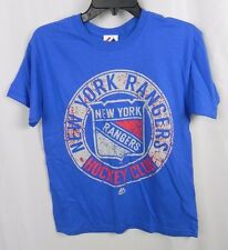 NEW Youth Majestic New York Rangers Hockey Blue T-Shirt Size L (S1-20)
