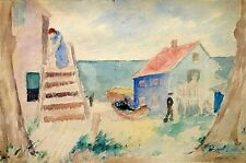 Abraham Walkowitz: Coastal Village 1913 / Jewish American Modernist Watercolor