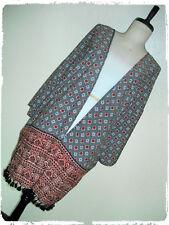 MPH Collection Bohemian Floral Geometric Tile Tassel Fringe Kimono Cardigan 1X