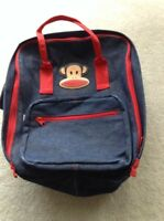 Paul Frank Julius Blue Denim Red Trim Backpack Book Bag Bag Purse Vintage Jeans