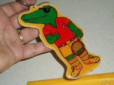 Vintage Alligator Keychain Cool Hip Gator Tennis Player Laminate Die Cut Plastic