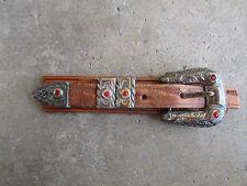 vintage Mexico Ranger Set sterling jeweled engraved  belt buckle