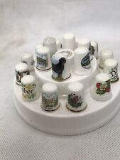 More details for thimble display rack stand caverswall england white porcelain round w 18 thimble