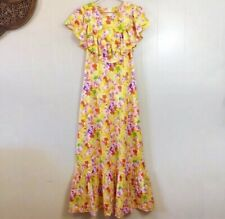 Vintage 1960's/70's Yellow Floral Maxi Dress With Ruffles