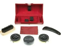 Pavers Unisex Shoe Care Kit Red Case Storage Box Polish Shine Horn Cloth Brush