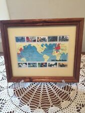 1942 Into the Battle WWII Stamp Sheet Framed for Display (Yellow Matted)
