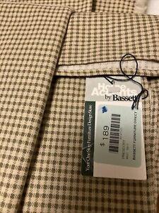 Prescott Queen Bed Skirt Sham & Pillowcase Creme Sage Plaid Cotton 60 X 80 X 16