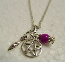 1 x GODDESS + PENTAGRAM + BEAD PENDANT & CHAIN Wicca Pagan Witch Goth PENTACLE