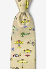 Alynn 100% Silk Vintage U.S. Warplanes Aviation Military Airplanes Necktie Tie