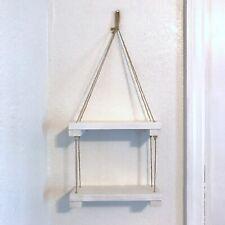 Handmade Boho Style Two-Tier Wood Wall Hanging Shelf Jute Rope In White