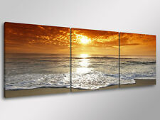 Quadro Moderno 3 pz.  BEACH SUNSET cm 150x50 arredamento tramonto stampa su tela