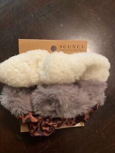 *NEW* Set 3 Scunci Scrunchies Hair Neutral Leopard Print Solid Gray Solid Cream