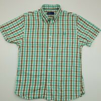 Fred Perry Mens Shirt SMALL Short Sleeve Green Regular Fit Check Cotton