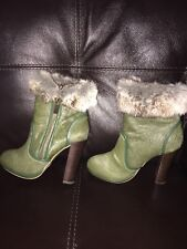 June Ambrose Green Calf Hair Boots