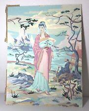 VIntage Paint By Number PBN Unframed Geisha Asian Oriental Princess Mid Century