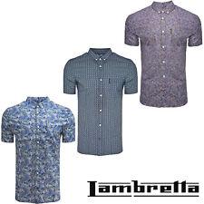 Lambretta Paisley Shirts Short Sleeve Collared Retro Vintage Mens Summer Tops