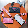 Cross-body Bling Card Envelope Pink Wallet Case Cover For iPhone XS Max XR 8+ 6s