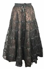 Dark Star Gothic Bronze Brown Satin & Lace Tiered Skirt Victorian Gypsy 10-16