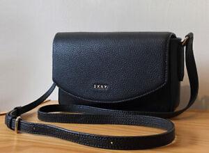 DKNY Black Pebbled Leather Small Flap Crossbody Bag